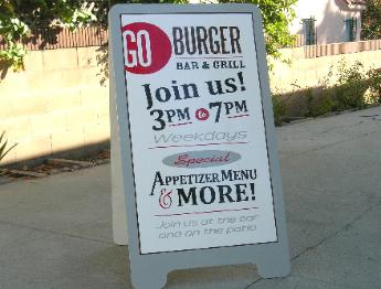 A-frame sign, Go Burger, Los Angeles
