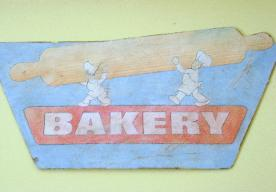 Painted cut-out distressed sign, bakery, Los Angeles