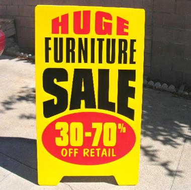 A-frame sidewalk sign, furniture sale, Los Angeles