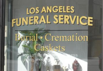 window lettering, hand lettering, Los Angeles Funeral Service