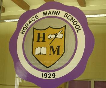 window lettering, hand lettering on windows - Horace Mann School