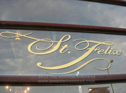 window lettering, hand lettering on windows - St Felix