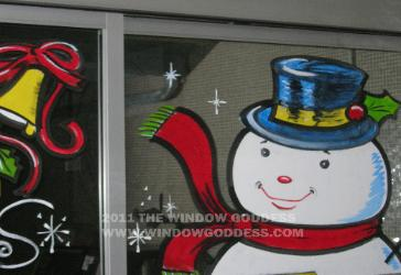window splash, Snow man, Christmas window, Los Angeles