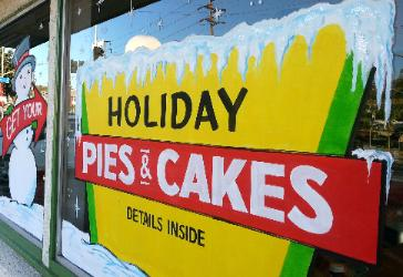window splash, holiday pies and cakes, Cindy's Eagle Rock